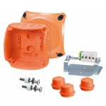 FK 0402 Коробка огнестойкая клеммная 5-полюсная 1,5-2,5кв.мм 104х104х70 IP65/IP66 оранжевая, Е30-Е90, РН120