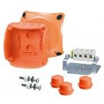 FK 0404 Коробка огнестойкая клеммная 5-полюсная 1,5-4кв.мм 104х104х70 IP65/IP66 оранжевая, Е30-Е90, РН120