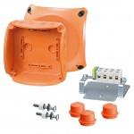 FK 0604 Коробка огнестойкая клеммная 5-полюсная 1,5-6кв.мм 130х130х77 IP65/IP66 оранжевая, Е30-Е90, РН120