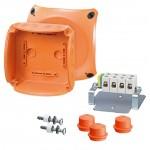 FK 0606 Коробка огнестойкая клеммная 5-полюсная 1,5-6кв.мм 130х130х77 IP65/IP66 оранжевая, Е30-Е90, РН120
