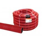 Труба гофрированная двустенная ПНД d 110 с зондом (50 м/уп.) красная TDM