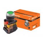 Кнопка ABLFS-22 зеленый d22мм неон/230В 1з+1р TDM