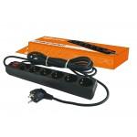 Сетевой фильтр СФ-06В выключатель, 6 гнезд, 3 метра, с заземлением, ПВС 3х1мм2 16А/250В TDM