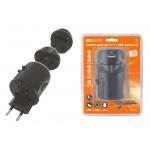 Тревел-адаптер 100-250В 2,5A (5 в 1) c USB-зарядкой 1000мА черный TDM